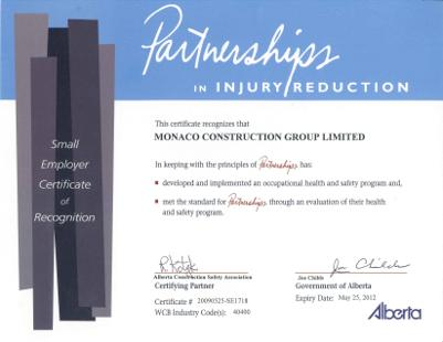 Partnerships in Injury Reduction - Small Employer Certificate of Recognition